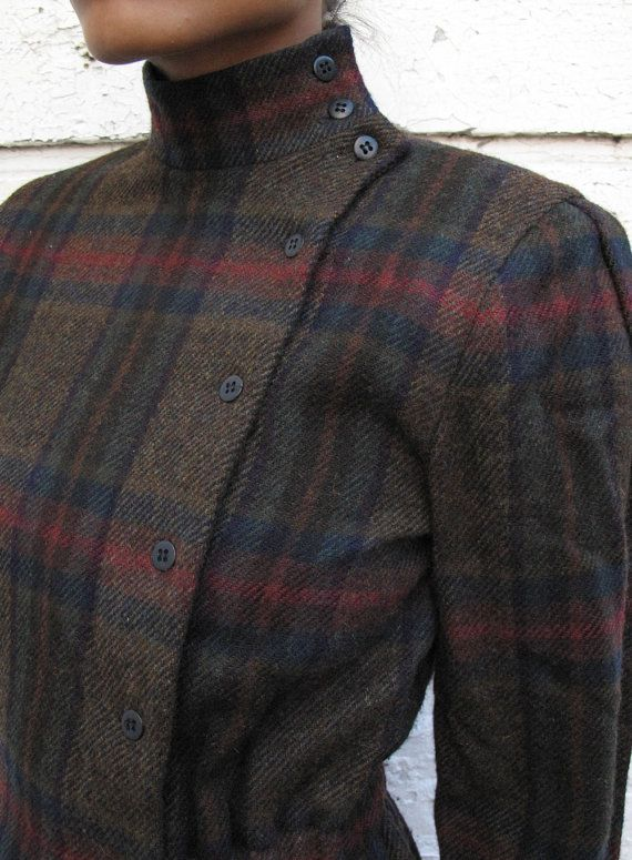 Perry Ellis 1980's Tailored Equestrian Plaid Wool Crop Jacket