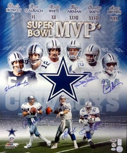 Cowboys Sb Mvp's Autographed Signed 20x24 Photo 6 Sigs Smith Aikman - PSA/DNA Certified - Autographed NFL Photos *** You can find out more details at the link of the image.