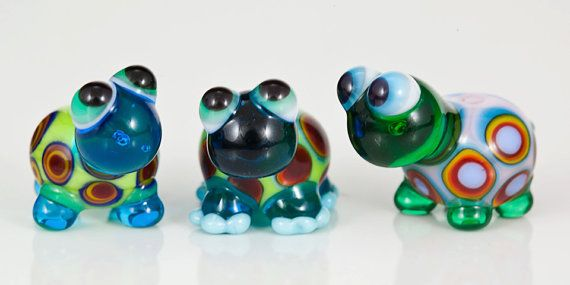 Mini Rainbow Turtles Lampwork Glass Beads  3 by maybeads on Etsy, $28.00