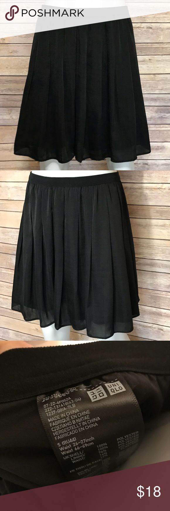 {uniqlo} black circle skirt Beautiful, soft pleated skirt from Uniqlo. Layered, versatile, neutral skirt for many occasions. Uniqlo Skirts Circle & Skater