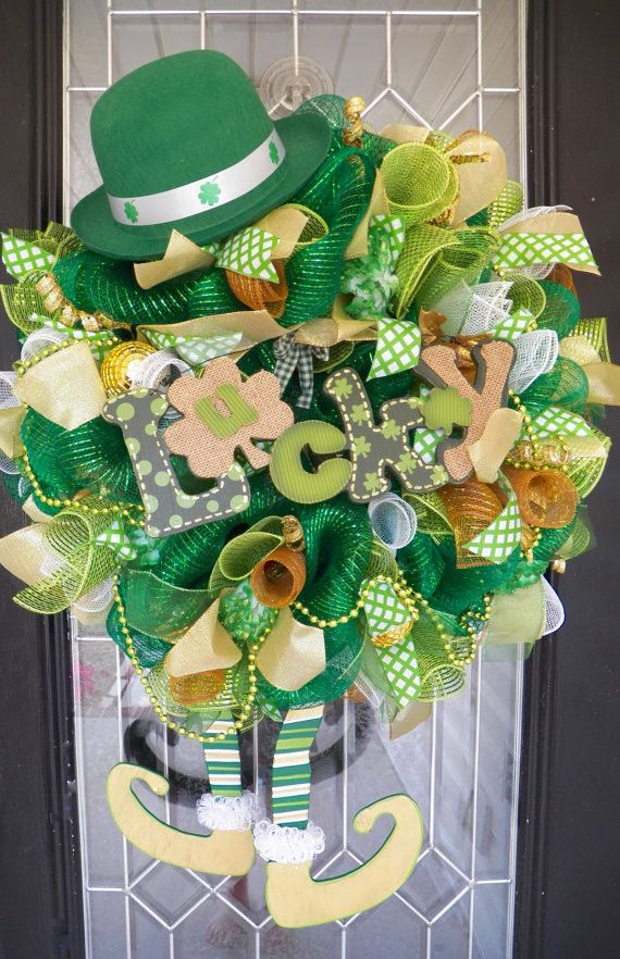 st patrick 39 s day wreath st patrick 39 s decoration wreath for door leprechaun wreath green. Black Bedroom Furniture Sets. Home Design Ideas