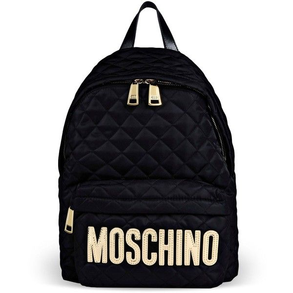 Moschino Rucksack Featuring Polyvore Fashion Bags Backpacks Black Backpack Logo Zip Bag And Knapsack B
