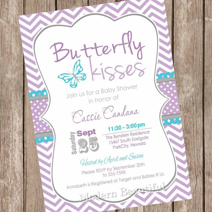 Butterfly kisses baby shower invitation, butterfly baby shower invitations, turquoise, purple, chevron, printable invitation, by ModernBeautiful on Etsy https://www.etsy.com/listing/207269530/butterfly-kisses-baby-shower-invitation