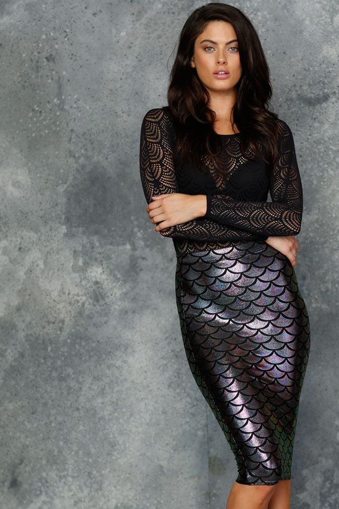 Mermaid Chameleon Midi Pencil Skirt - LIMITED (AU $60AUD) by BlackMilk Clothing