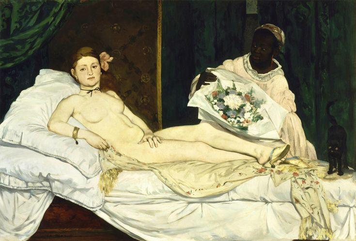 """Olympia"" 1863  Dimension: 130,5 x 190 cm  Musée d'Orsay, Parigi"