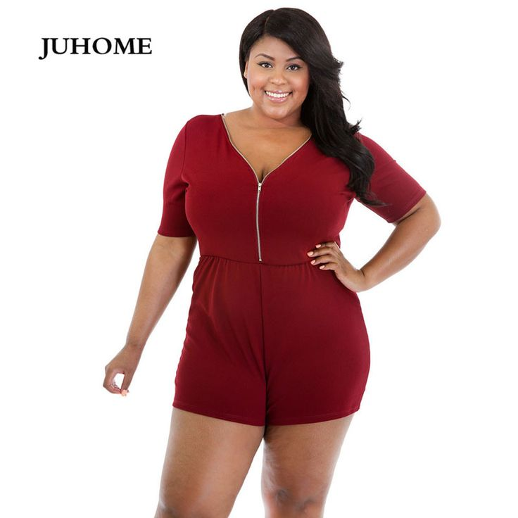 2017 Summer Casual Women Jumpsuits Short Sleeve V-Neck Zippers Overalls Playsuit Bodycon Fashion Sexy Plus Size Rompers Playsuit #Affiliate