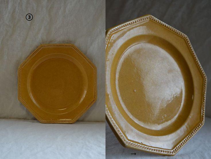 南仏アンティーク ピション窯のオクトゴナルデセール皿 4枚揃い_画像6