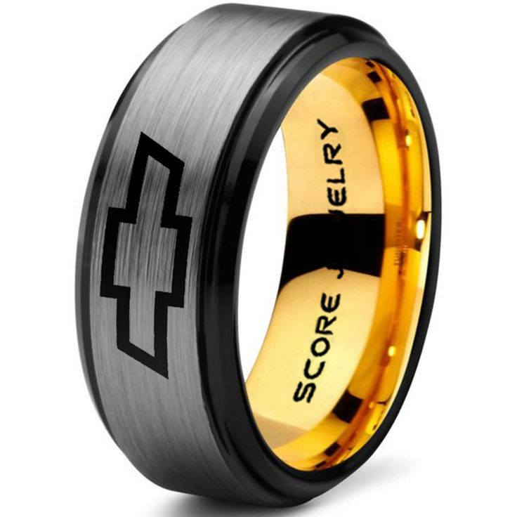 Silver Tungsten Ring with Step Edge Brushed Finish 8mm Tungsten Wedding Band Chevy Bowtie Ring Chevrolet Ring Chevy Ring