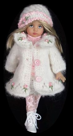 Handknit Mohair Coat,dress set made for Effner little darling dolls