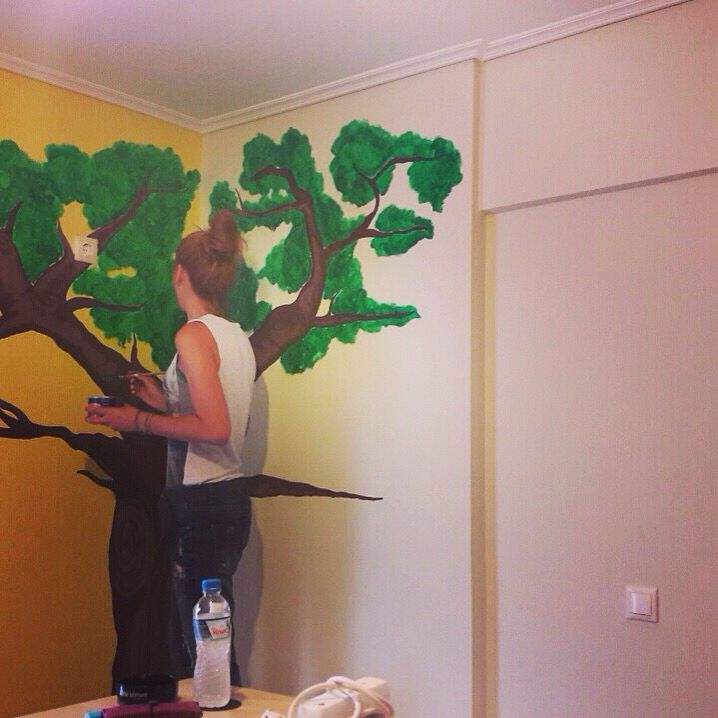 #caught_in_action #part_2 #tree #mural #wall_paint #art #decor #home_decor #baby_room #nursery #ideas