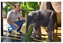 Hollywood Star Chris Atkins Interviews Bali Elephant Safari Park's Nigel Mason. That's Nigel on the left, and a baby Sumatran elephant on the right.