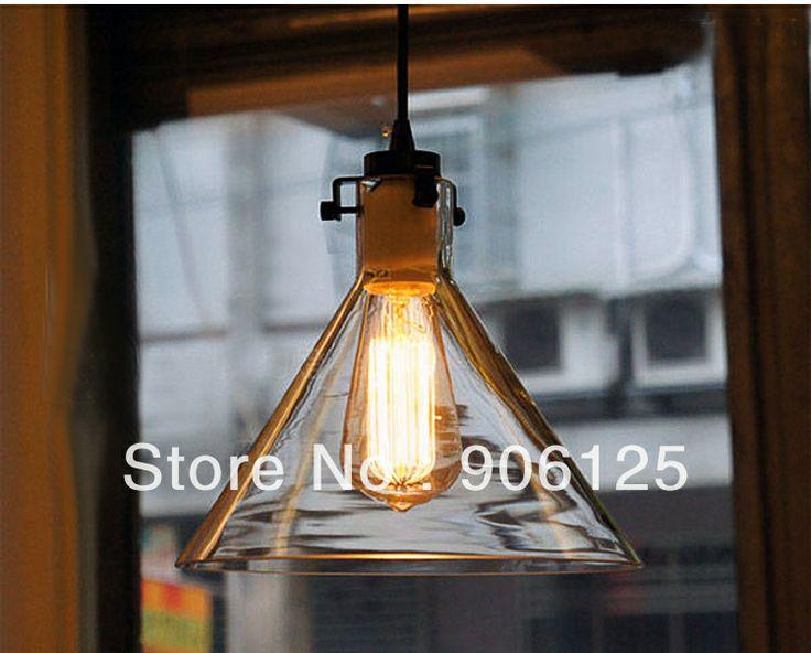 Vintage industriale appeso luce con vetro cono ombra- età macchina ciondolo lampada lampadina compresa dai danesi progettista spedizi...