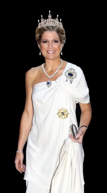 Queen Maxima of the Netherlands royal order star brooch badge white gown diamond pearl tiara order of orange-nassau sapphire brooch necklace