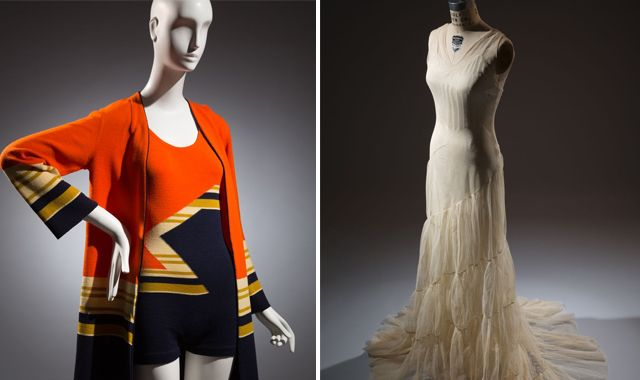 (l-r) A swimsuit by Munchen and an evening gown attributed to Augustabernard.