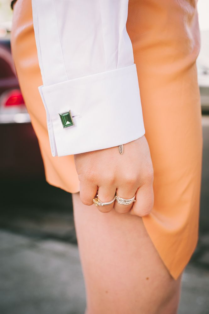 What would Karl Do blogger Jess wearing Miss Links cufflinks... whatwouldkarldo.com