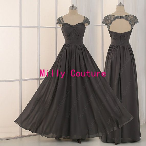 Dark Grey Bridesmaid Dress,Backless Long Bridesmaid Dresses, Sexy Long Chiffon Prom Dress, robe demoiselle d'honneur,$99, custome made