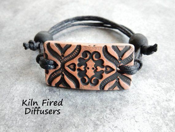 Black Boho Chic Diffuser Bracelet Essential by KilnFiredDiffusers