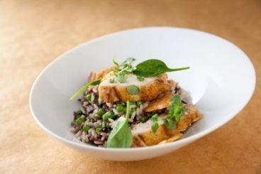 Recette de Suprême de volaille basse température et craquelin salé, riz sauvage aux légumes cuit comme un risotto