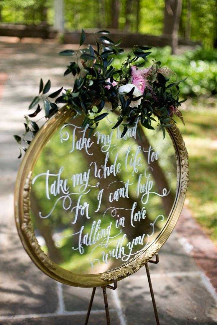 Ceremony Décor Mirror Sign Calligraphy Flowers Pink Cream Peonies Tea Roses  Eucalyptus Greenery Romantic Vintage Wedding