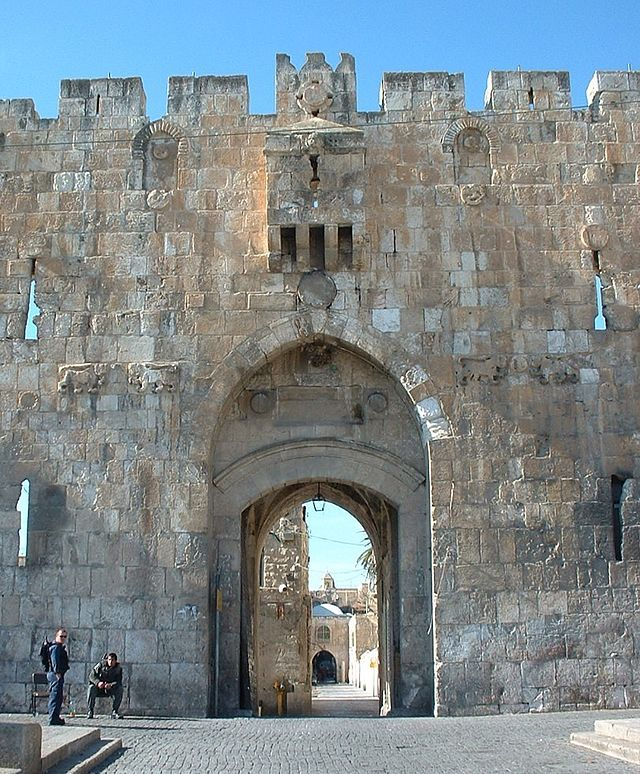 The Lions' Gate is located in the Old City Walls of Jerusalem and is one of seven open Gates in Jerusalem's Old City Walls. Located in the east wall, the entrance marks the beginning of the traditional Christian observance of the last walk of Jesus from prison to crucifixion, the Via Dolorosa. Near the gate's crest are four figures of leopards, often mistaken for lions, two on the left & two on the right. They were placed there by Sultan Suleiman the Magnificent in 1517.