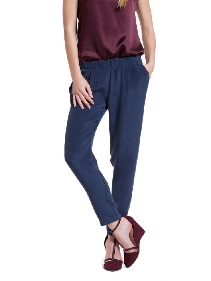 mavi ipek pantolon