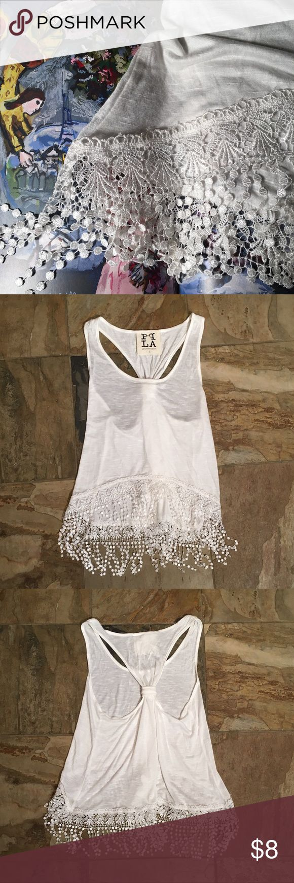 Lace Fringe Tank Top This is a white lace fringe tank top.  The top is very soft, almost sheer and gathered in back.  4.5in Lace fringe is delicate looking and in excellent condition.  Size: Junior LARGE 100% Rayon Hand wash cold Smoke Free Home PQ LA Tops Tank Tops