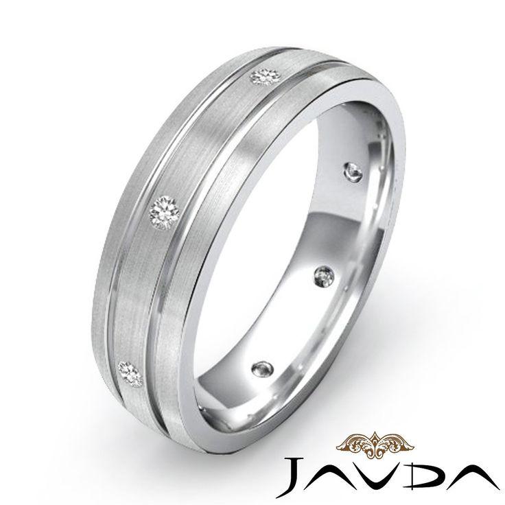 Diamond Mens Eternity Solid Ring Wedding Dome Brushed Band 14k White Gold 0 20ct | eBay