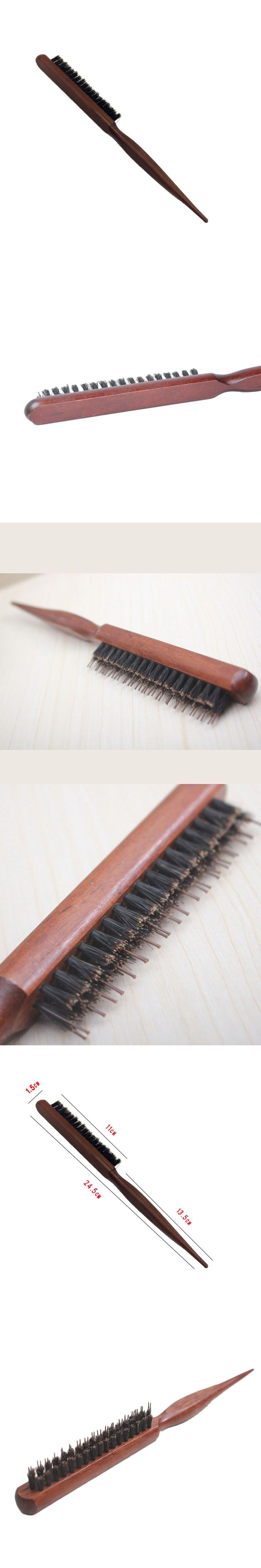 Superior Hair Styling Tools For Women Natural Bristle Comb Brush Fluffy Wood Handle Salon Hairdressing Barber Tool
