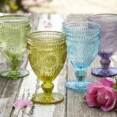 The lt blue wld b perfect for my dishes at the beach house........Vintage-Style Goblets - From Lakeland
