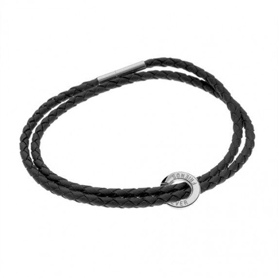 Läderarmband. hänge 10 mm med gravyr - 925 Sterling Silver, 19 cm