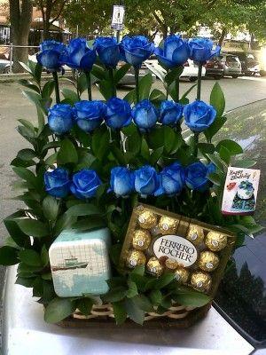 ramos de flores para hombres con chocolates