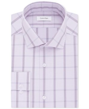 Calvin Klein Steel Men's Big & Tall Non-Iron Purple Check Dress Shirt - Purple 18.5 37/38