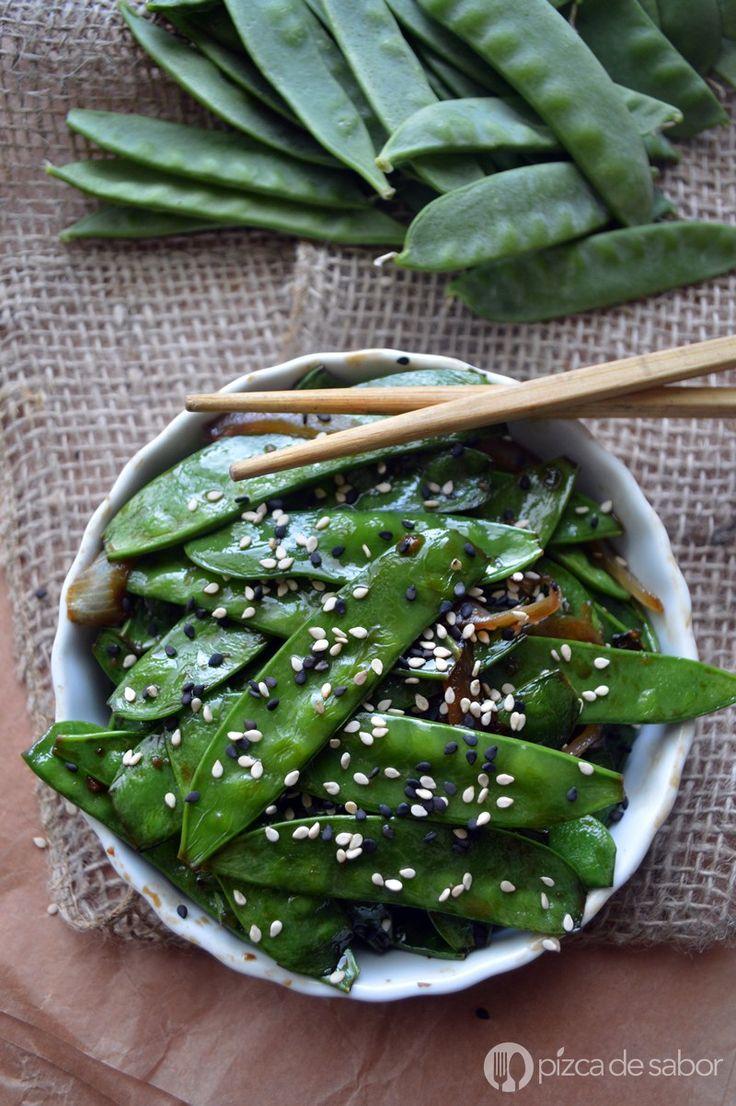 Chícharo chino glaseado con salsa de soya www.pizcadesabor.com