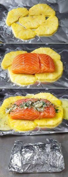 Lemon Garlic Butter Salmon in Foil with Pineapple
