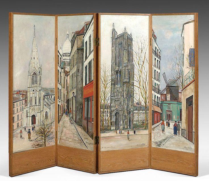 Maurice Utrillo Le paravent de Maurice Utrillo, 1939 4 huiles sur toile montées sur panneaux de bois 1er panneau : signé et daté en bas à...