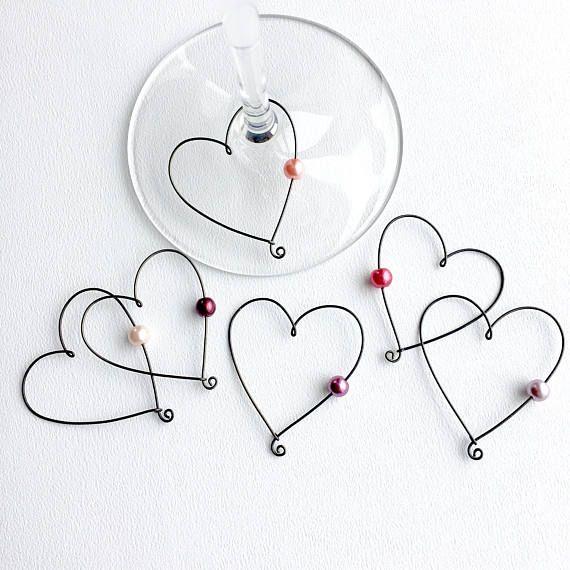 Hochzeit Gefälligkeiten Herz geformt Wein Glas Anhänger