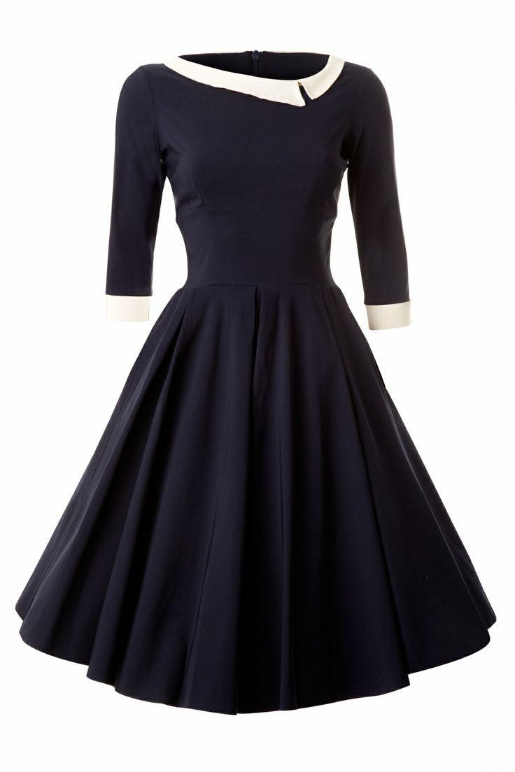 50s retro navy long swing dress