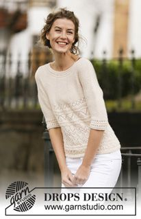 """Timeless Beauty - Knitted DROPS jumper in garter st with lace pattern and round yoke, worked top down in """"BabyAlpaca Silk"""". Size: S - XXXL. - Free pattern by DROPS Design"""