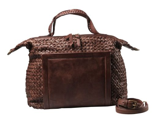 Borsa da giorno in pelle intrecciata con quadrante applicato liscio.  #resinastyle #bag #bags #daybag #fashion #borse #model #luxurybag #fashionable #handbag #fashionaddict #leather #handmade #fairtrade http://www.resinastyle.com/adrenaline/