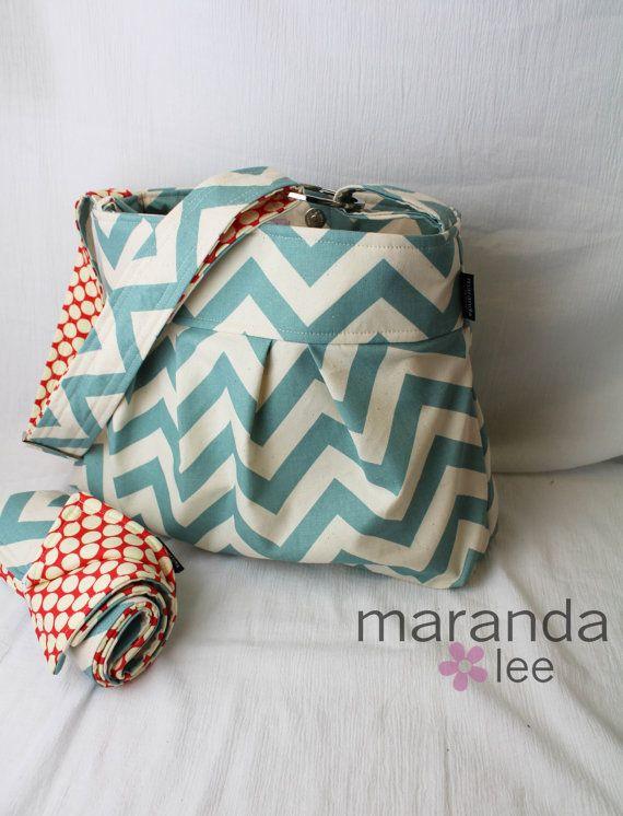 Emma Chevron Diaper Bag Set  Medium with Changing Pad Blue Chevron - 6 pockets Adjustable Strap - Custom Made to Order