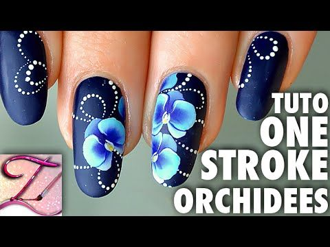 Tuto nail art orchidées One Stroke - http://www.nailtech6.com/tuto-nail-art-orchidees-one-stroke/