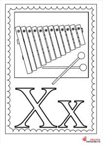 Litera X - Planșă de colorat