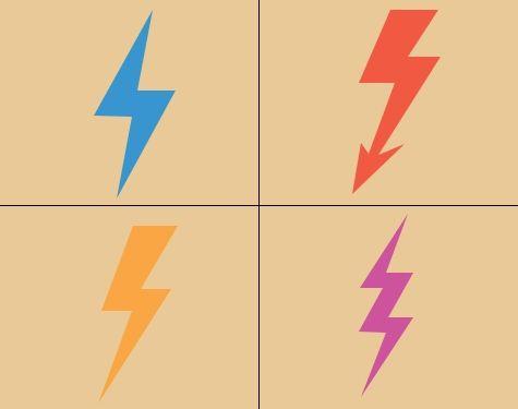 Colored lightning bolt tattoo designs