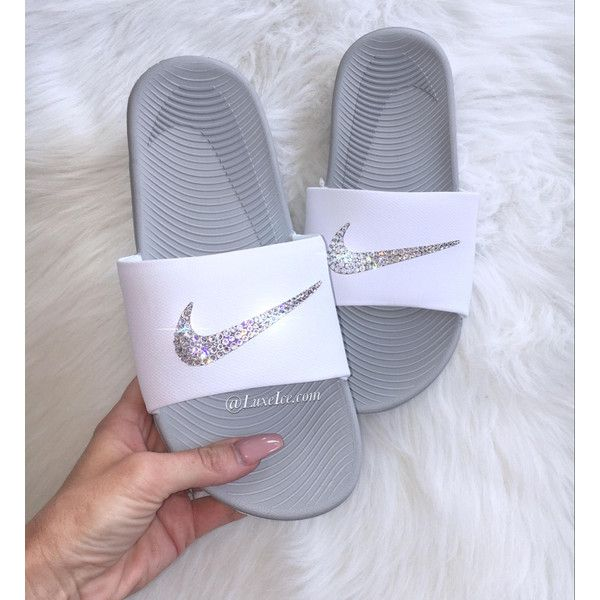 Nike Kawa Slides White Flip Flops Customized With Swarovski Crystals ($65) ❤ liked on Polyvore featuring shoes, sandals, flip flops, gold, women's shoes, swarovski crystal sandals, white flip flops, wrap shoes, sparkly sandals and special occasion sandals