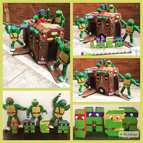 Piñata de las Tortugas Ninja y el nombre en 3D del cumpleañero, cada tortuga puede desmontarse de la camioneta base #tortugasninja #ninjaturtle #piñata #letras3d #fiestasinfantiles #fiestastematicas #bogota #piñapiñatas