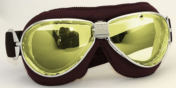 """NANNINI EYEWEAR """"TT"""" with brown leather pad, chrome frame and yellow mirrored lenses. 1960's style motorcycle goggles made in Italy with soft real leather face pad, distortion-free lenses that are anti fog & anti-scratch, ventilation slots and an adjustable anti-slip strap."""
