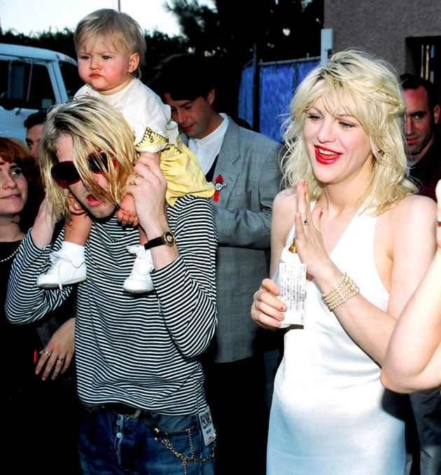 Kurt Cobain and Courtney Love pose with daughter Frances Bean in 1993. (Photo: Jeff Kravitz)