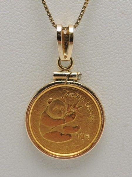 shopgoodwill.com - #41070675 - 14K Gold Necklace w/ .999 Gold Panda Coin Pendant - 7/5/2017 6:00:00 PM