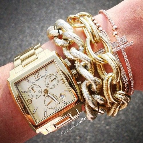 Chain link bracelets and BIG watch.....love these!!!!