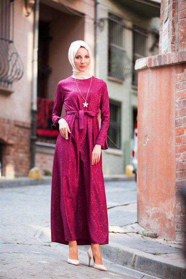 fdcca1b9ad117 Jakarlı Elbise 5508 Fuşya, 2018   Tesettür Giyim   Pinterest